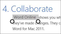 Memilih teks dalam mod sentuhan dalam Office Online