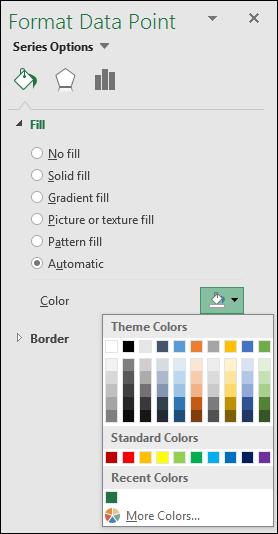 Opsyen warna Carta Peta Excel untuk Carta kategori