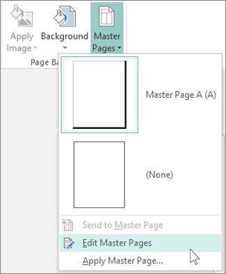 Petikan skrin juntai bawah Edit Halaman Induk dalam Publisher.