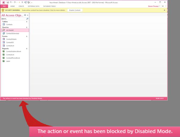 Bar status memaparkan mesej mengenai kandungan yang disekat