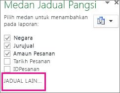 Menambah lagi Jadual dalam Senarai Medan
