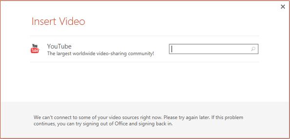Ini adalah kotak dialog selitkan Video dalam talian dalam PowerPoint 2013.