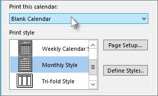 Pilih nama kalendar yang anda ingin cetak
