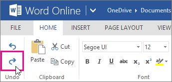 buat semula perubahan dalam word online