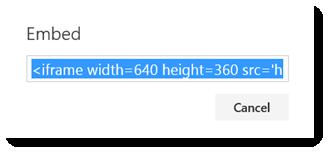 Kod terbenam untuk video Office 365