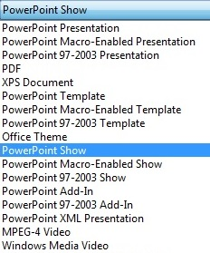 Simpan persembahan anda sebagai Tayangan PowerPoint.