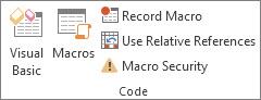 Kumpulan Kod pada tab Pembangun dalam Excel