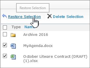 SharePoint 2010 dengan item yang dipilih dan butang Pulihkan yang diserlahkan
