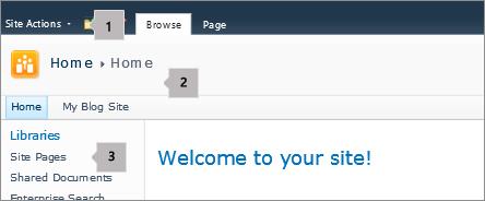 SharePoint 2010 penjuru kiri bahagian atas skrin.