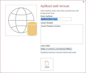 Kotak dialog aplikasi web tersuai baru, menunjukkan Laman Pasukan Contoso dalam kotak Lokasi Tersedia.