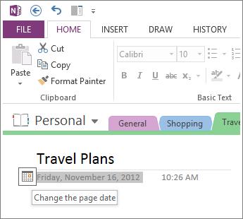 Ubah tarikh ciptaan halaman.