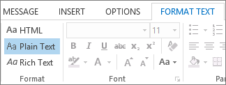 Opsyen format mesej pada tab Format Teks