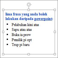 Pemformatan dalam kotak teks PowerPoint