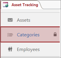 Ikon Dikunci muncul pada jadual dikunci dalam Access