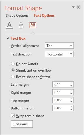 Menunjukkan anak tetingkap Format Bentuk > Opsyen Teks dalam PowerPoint