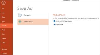 Tambah OneDrive sebagai tempat