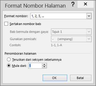 Opsyen dalam kotak dialog Format Nombor Halaman ditunjukkan.