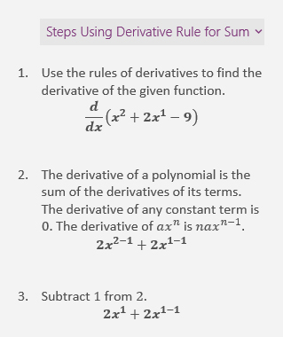 Penyelesaian langkah dalam anak tetingkap tugas matematik
