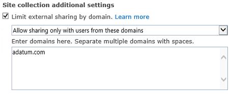 Petikan skrin bahagian domain terhad koleksi laman seting kotak dialog.