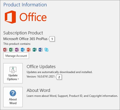 Petikan skrin halaman akaun yang menunjukkan nama produk Office dan nombor versi penuh
