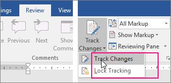 Apabila anda klik butang Jejak Perubahan, opsyen yang tersedia diserlahkan