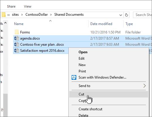 Klik kanan dan pilih potong untuk mengalihkan fail