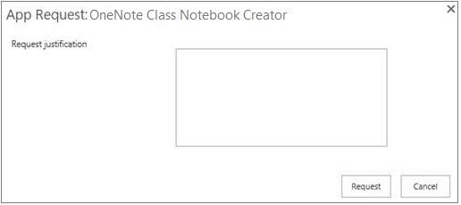 Petikan skrin kotak dialog permintaan aplikasi
