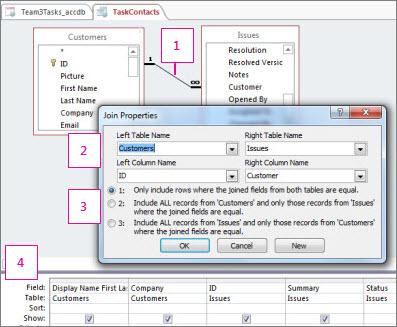 Mencantumkan sumber data dalam pertanyaan access for Table design query