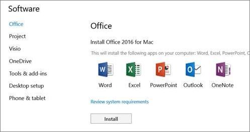 Skrin pemasangan perisian Seting Office 365 pada Mac