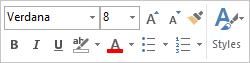 Bar alat mini untuk pemformatan teks mesej
