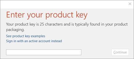 Menunjukkan kotak dialog yang anda memasukkan kunci produk anda