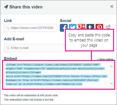 Contoh penggunaan kod terbenam untuk membenamkan kandungan pada halaman SharePoint