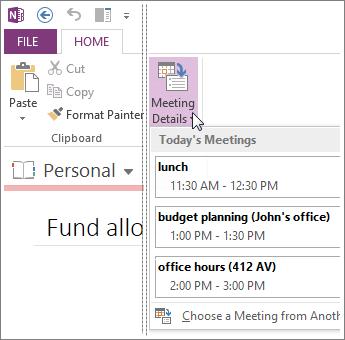Tambahkan butiran mesyuarat pada halaman dalam OneNote.