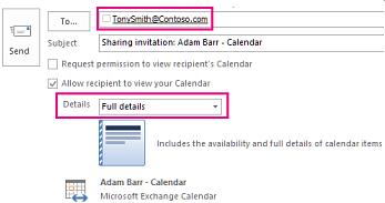 Jemputan untuk berkongsi e-mel peti mel secara luaran - Kotak Kepada dan seting Butiran