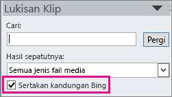 Kotak semak kandungan Sertakan Bing