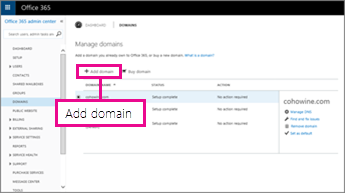 Klik Tambah domain pada halaman Domain Office 365