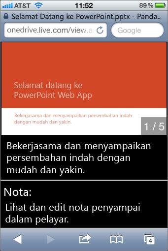 Slaid dan nota penyampai dalam Mobile Viewer untuk PowerPoint