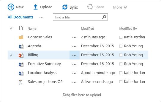 Kotak dialog pustaka dokumen sharepoint dengan beberapa fail di dalamnya.