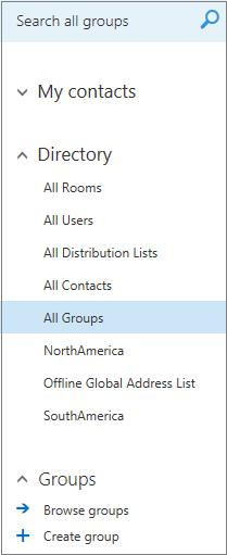 Folder dan direktori yang muncul apabila anda semak lalu Groups dalam Kalendar untuk Outlook pada web bagi perniagaan