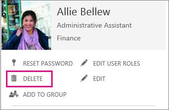 Petikan skrin menunjukkan perintah untuk memadamkan pengguna dalam pentadbiran Office 365.