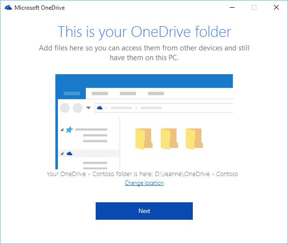 Petikan skrin bagi skrin Ini ialah Folder OneDrive Anda dalam wizard Selamat datang ke OneDrive