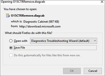 Simpan fail O15CTRRemove.diagcab dalam Firefox
