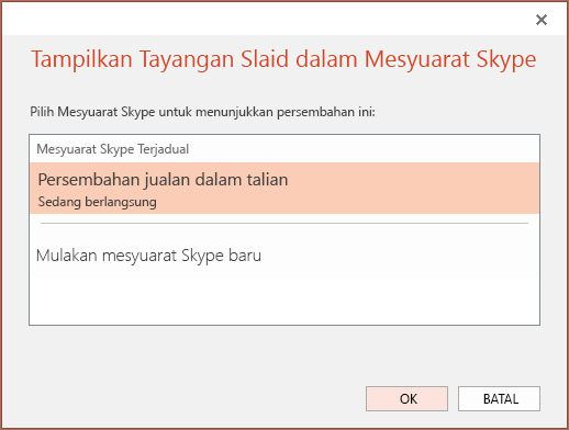 Menunjukkan dialog persembahan dalam talian dalam PowerPoint