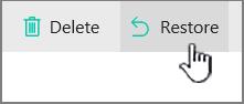 Butang memulihkan dalam talian SharePoint diserlahkan