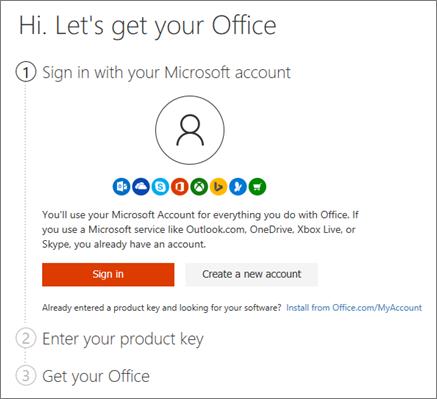 Menunjukkan halaman pembukaan untuk setup.office.com