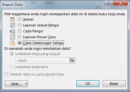 Import Data Cipta Sambungan Sahaja