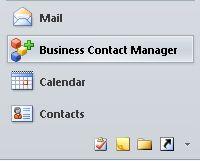 butang business contact manager dalam anak tetingkap navigasi