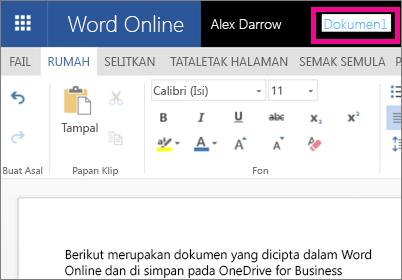 Mengklik bar tajuk untuk mengubah nama dokumen Word Dalam Talian