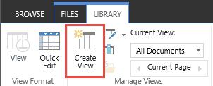 Mencipta pustaka SharePoint butang pandangan pada reben.