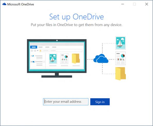 Petikan skrin bagi skrin pertama persediaan OneDrive